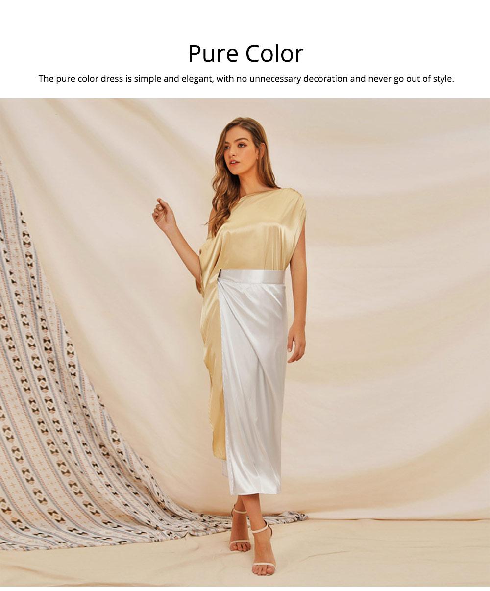 Sloping Shoulder Women Dress, Sexy Fashion Champagne Irregular Casual Dress, High Slit Short Sleeve Elegant Dress 2019 New 4