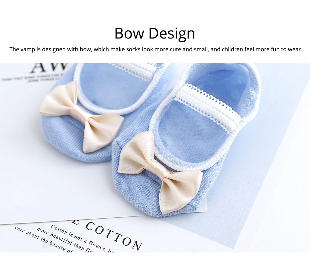 Socks Cotton Material Soft with Bow Strap, Anti-skid Foot Cover, Breathable Stockings for Kids Summer Spring 5