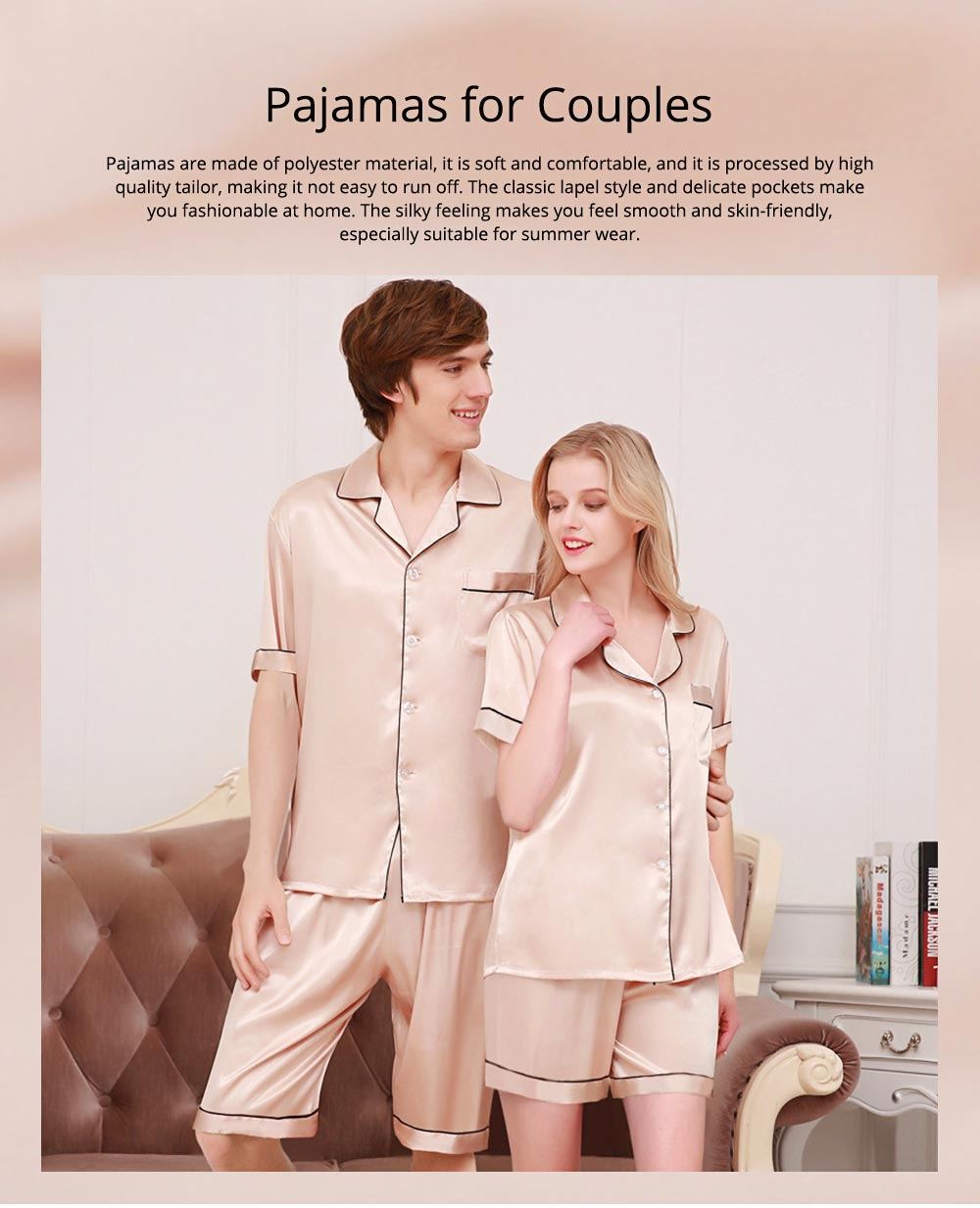 Couple Nightclothes Suit, Polyester Material Silky Feeling Soft Pajamas, Skin-friendly Nightgown Short Sleeve Shirts Pants, Breathable Nightdress for Couples Summer 0