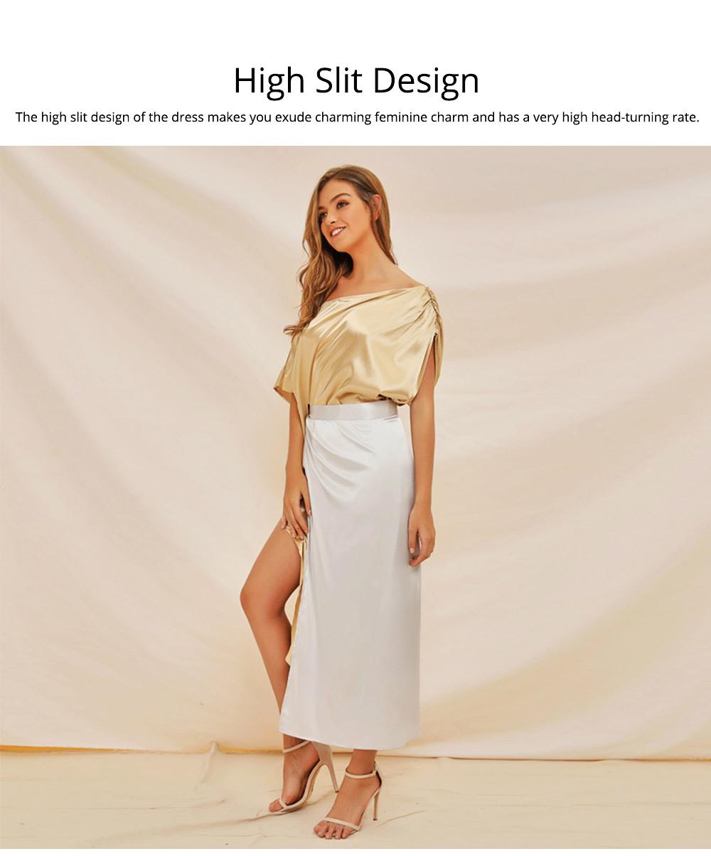 Sloping Shoulder Women Dress, Sexy Fashion Champagne Irregular Casual Dress, High Slit Short Sleeve Elegant Dress 2019 New 3