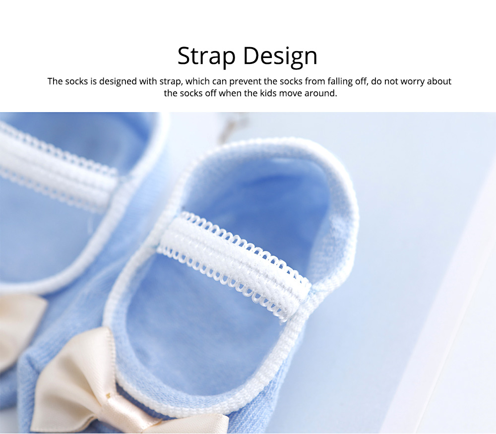 Socks Cotton Material Soft with Bow Strap, Anti-skid Foot Cover, Breathable Stockings for Kids Summer Spring 3