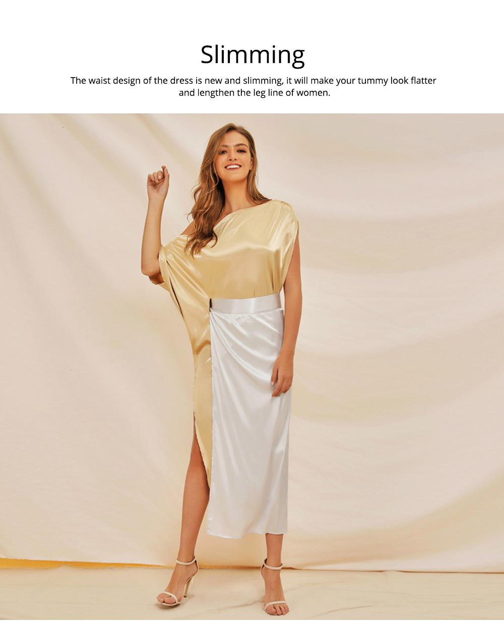 Sloping Shoulder Women Dress, Sexy Fashion Champagne Irregular Casual Dress, High Slit Short Sleeve Elegant Dress 2019 New 5