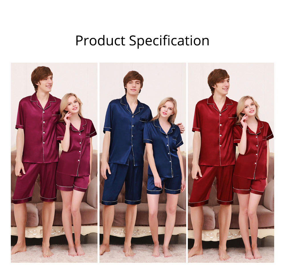 Couple Nightclothes Suit, Polyester Material Silky Feeling Soft Pajamas, Skin-friendly Nightgown Short Sleeve Shirts Pants, Breathable Nightdress for Couples Summer 6