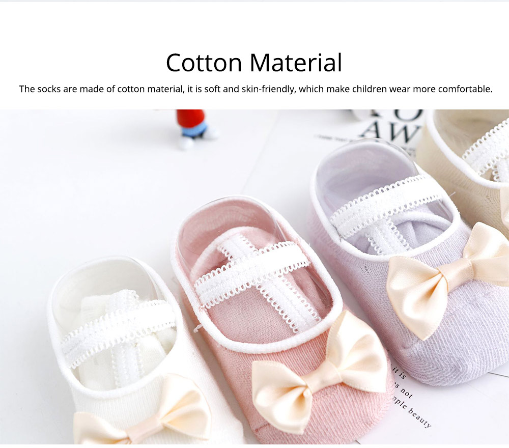 Socks Cotton Material Soft with Bow Strap, Anti-skid Foot Cover, Breathable Stockings for Kids Summer Spring 1
