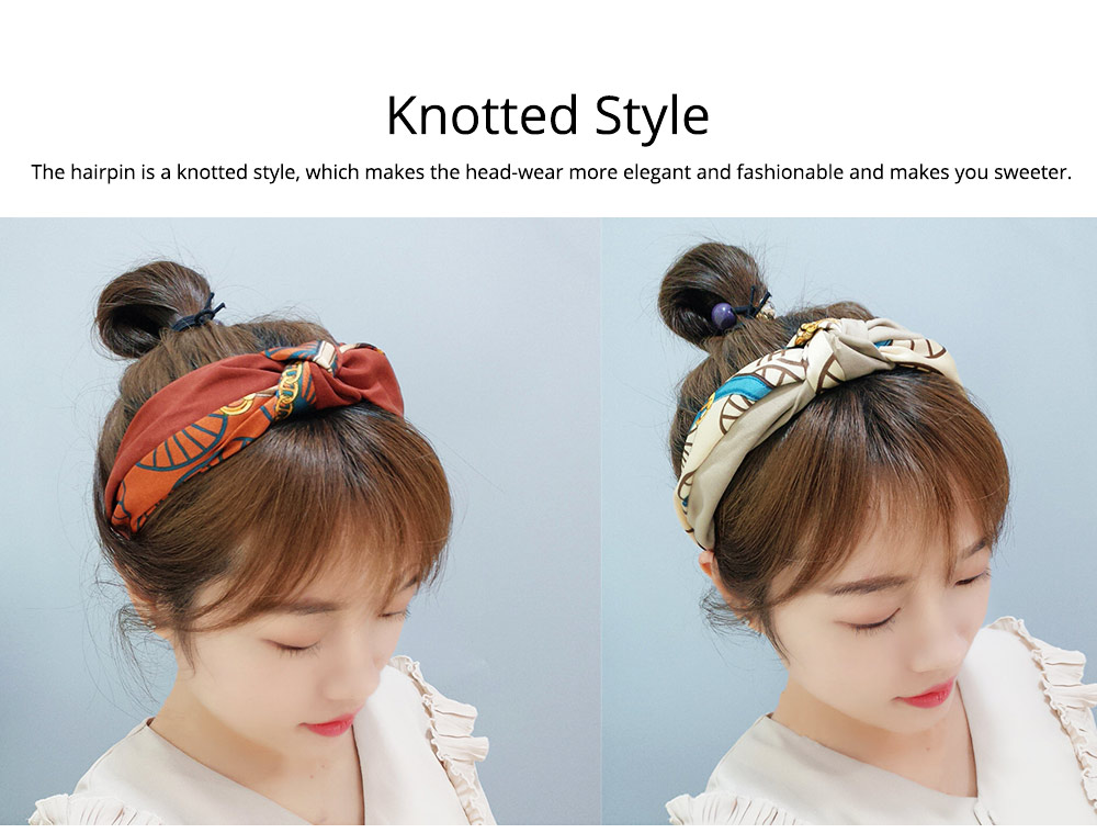 Hairpins Cloth Material Plaid Pattern, Decorations Sweet Style Hairpins for Girls, Knotted Strap Wide Hair Ornaments 3