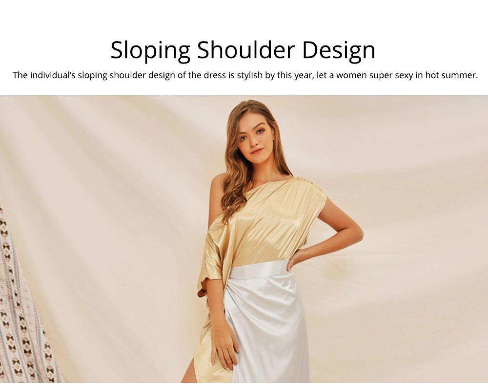 Sloping Shoulder Women Dress, Sexy Fashion Champagne Irregular Casual Dress, High Slit Short Sleeve Elegant Dress 2019 New 2