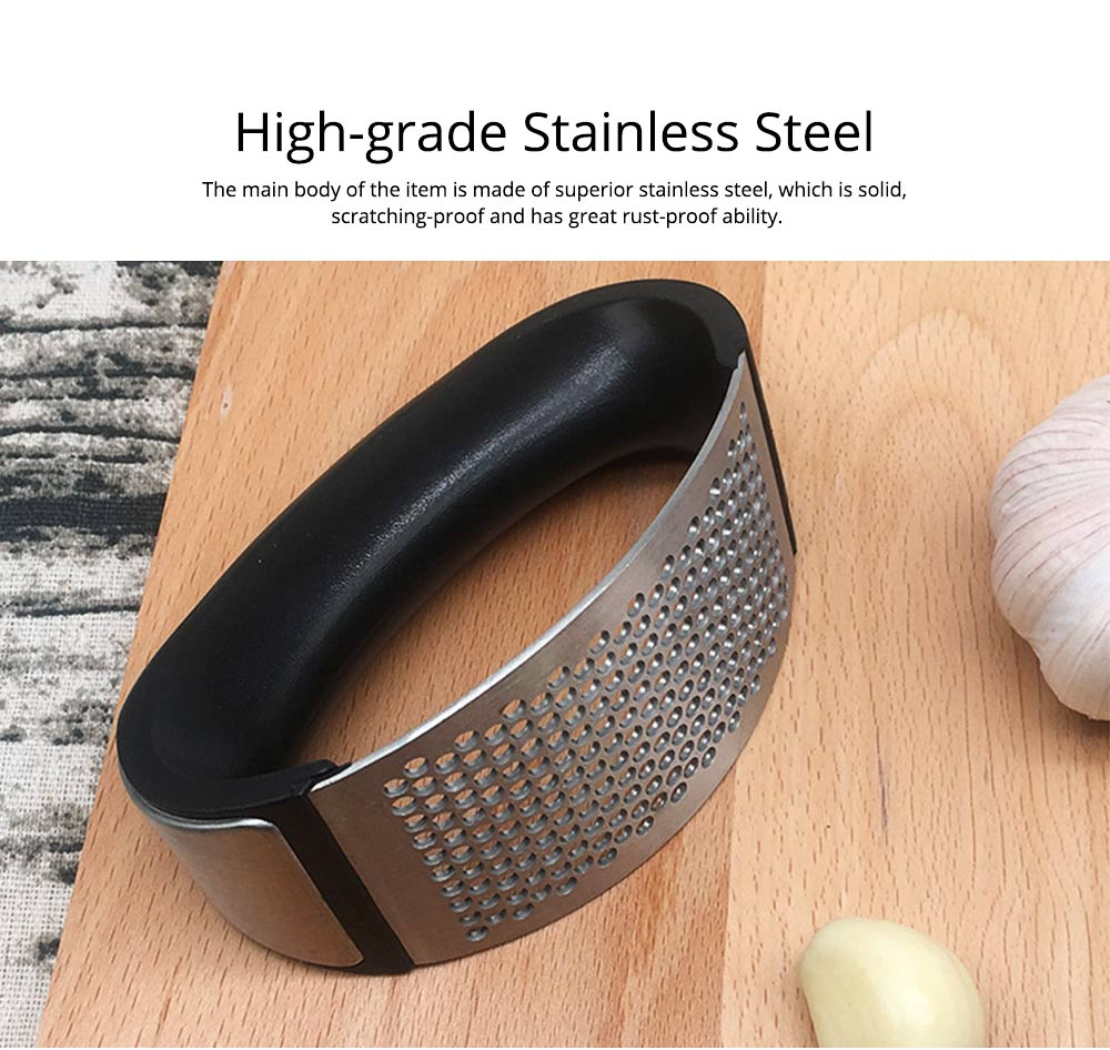 Quality Stainless Steel Arc Manual Garlic Press, Household Kitchen Tools Ginger Crusher Squeezer Masher 2