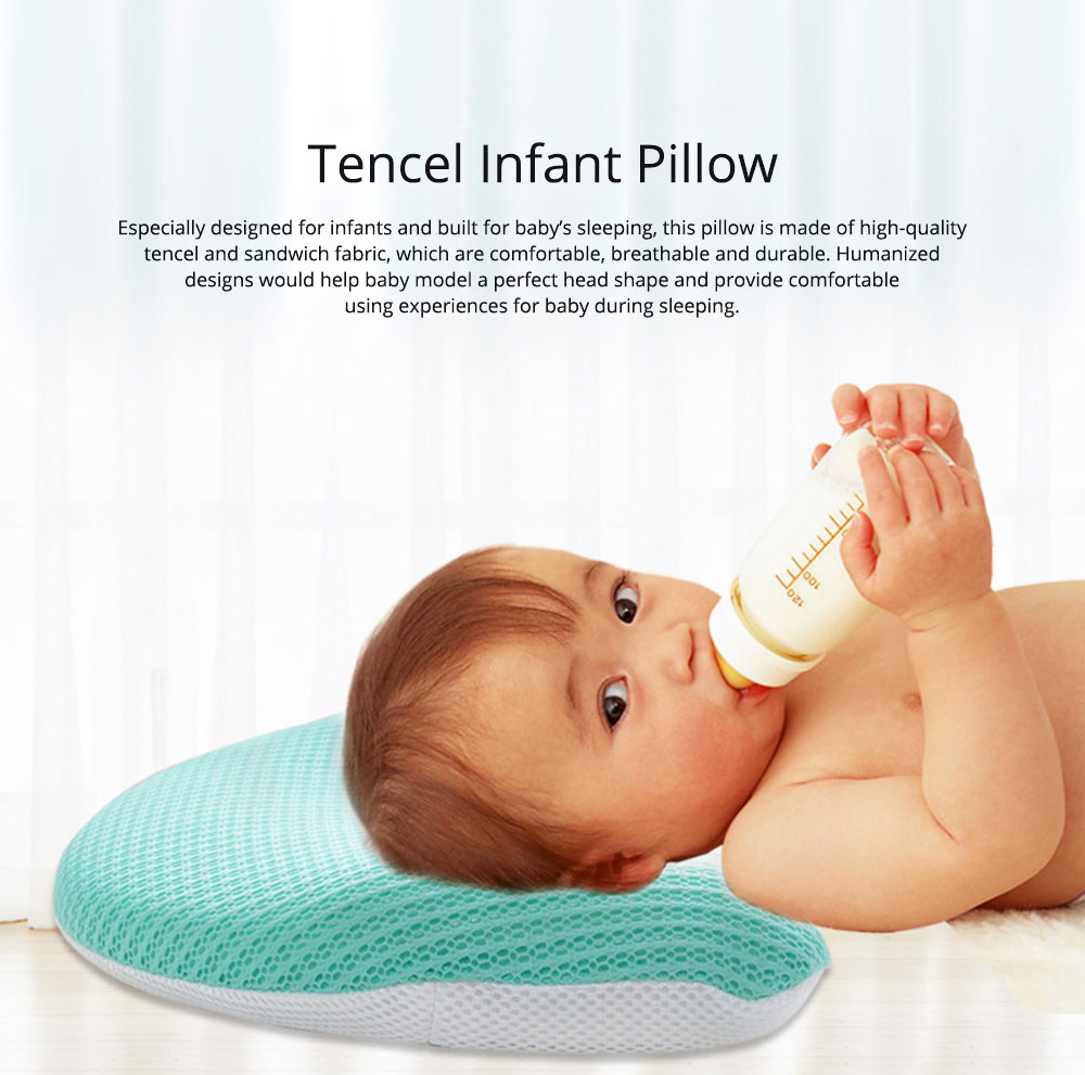 Summer Comfortable Infant Tencel Memory Cotton Pillow, New Born Baby Anti-roll Prevent Flat Head Cushion Pillow 0