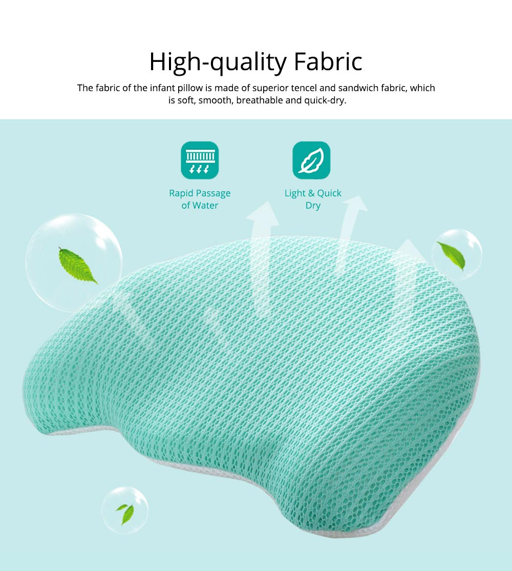Summer Comfortable Infant Tencel Memory Cotton Pillow, New Born Baby Anti-roll Prevent Flat Head Cushion Pillow 1