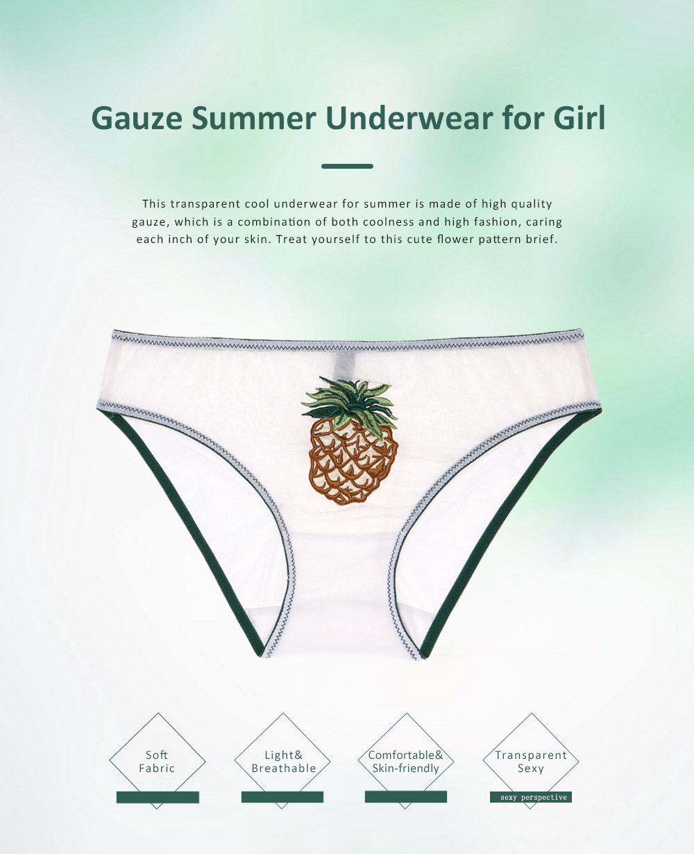 2019 Latest Gauze Hollow Cool Underwear for Girl Lady, Soft Breathable Thin Transparent Fruit embroidery Cute Cool Underwear for Summer 0