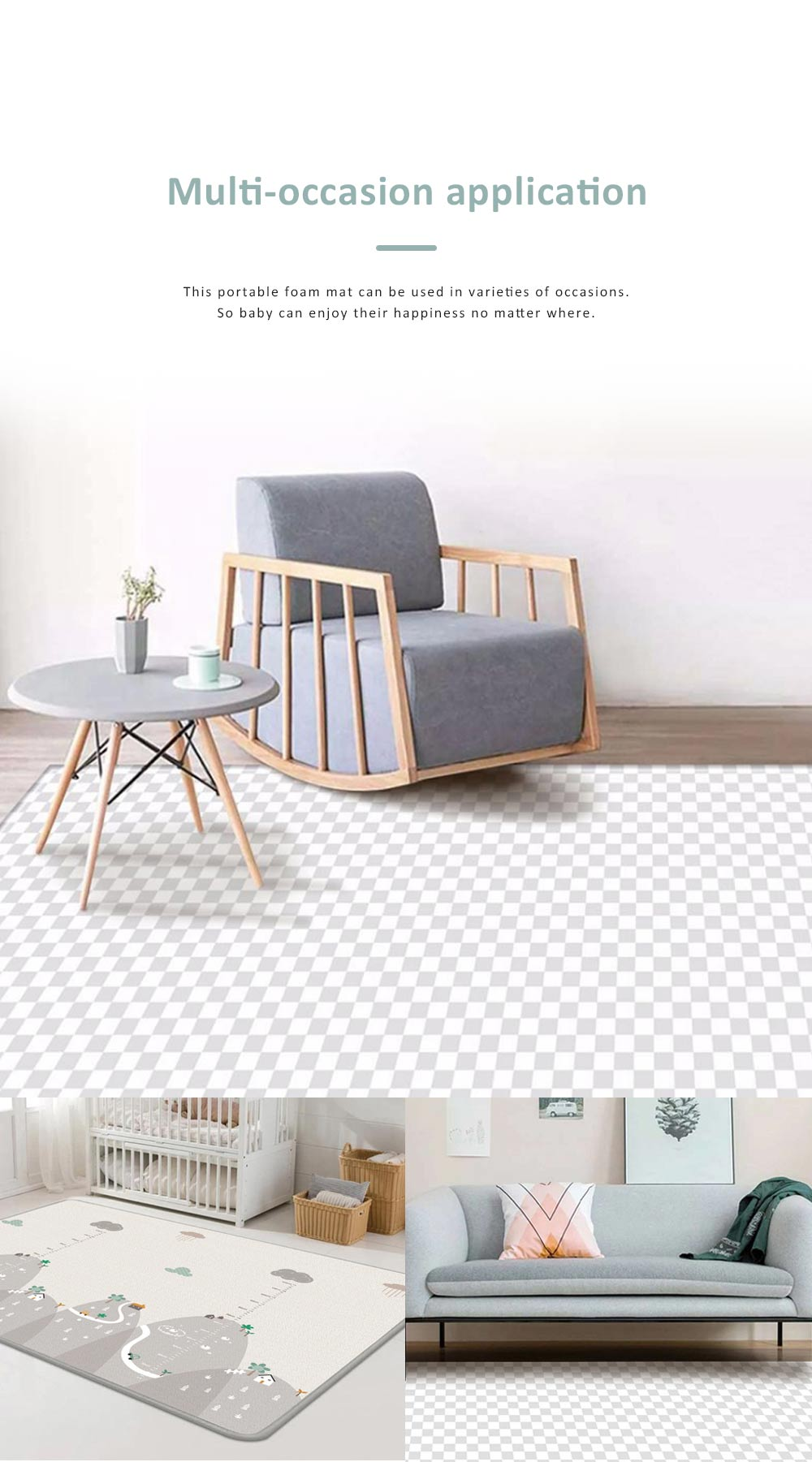 Double Sided Pyramid Textured Playing Mat for Baby, Nontoxic Odorless LDPE Material Crawling Carpet for Home Use 7