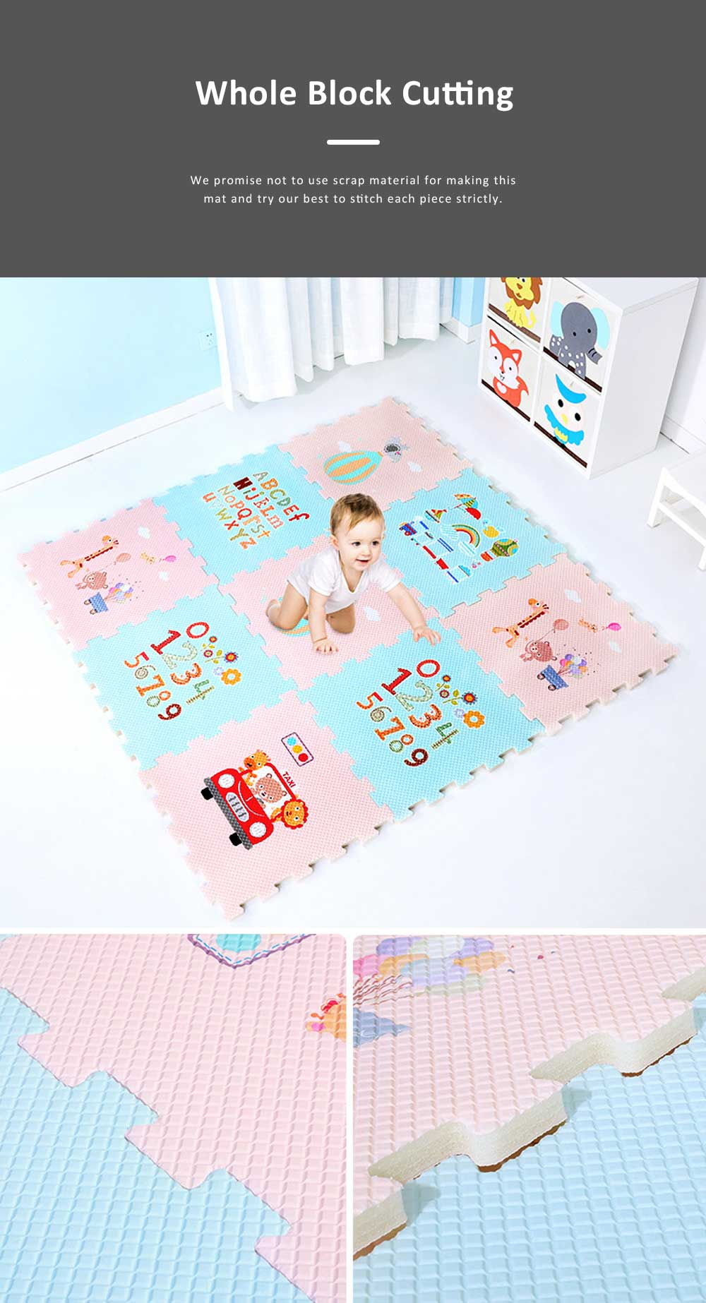 Nontoxic EVA Foam Material Baby Crawling Blanket, DIY Puzzle Suit for 3 months to 3 Year Baby, Floor Game Mat Kids Crawling Living Room Blanket 7