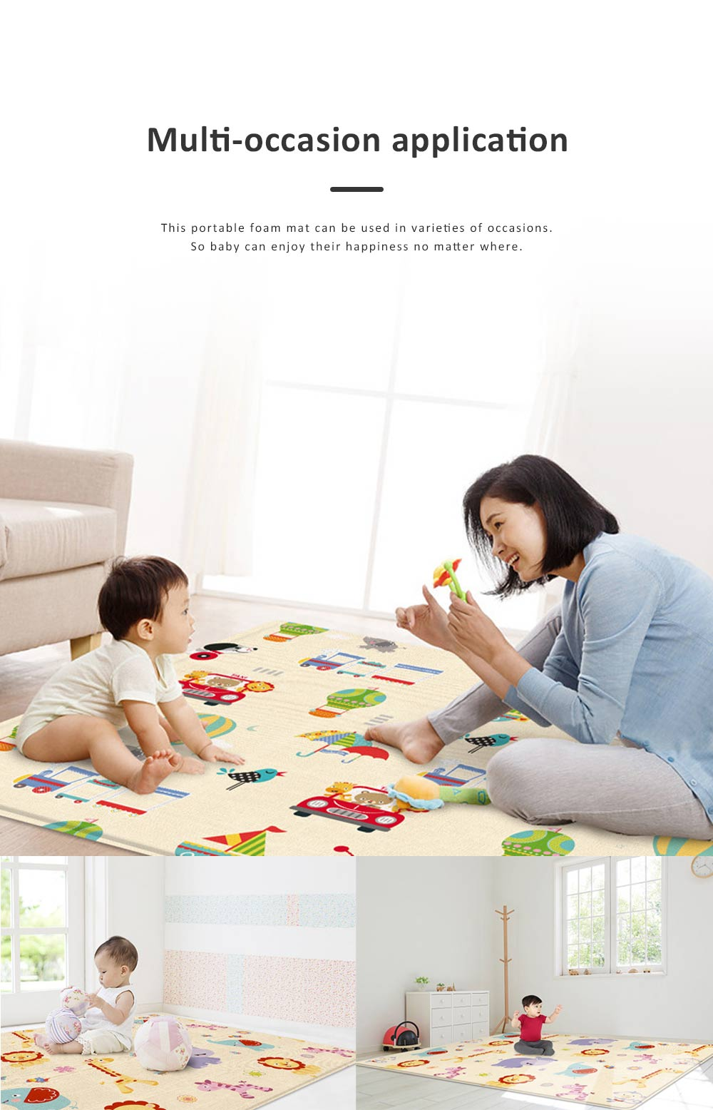 New Nontoxic Odorless LDPE Material Thicken Play Blanket for Baby, Cute Pattern Floor Crawling Mat Indoor Outdoor 7