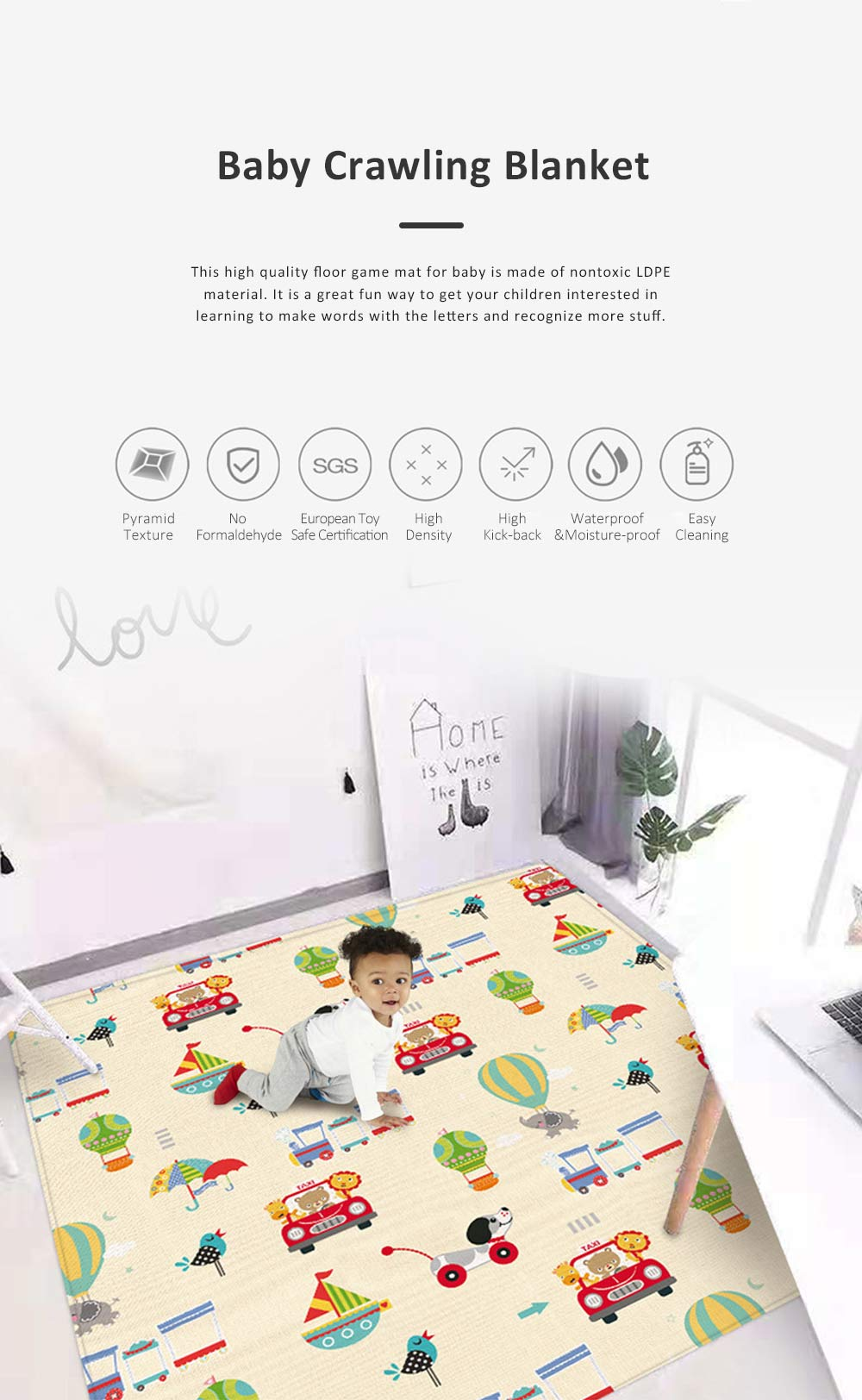 New Nontoxic Odorless LDPE Material Thicken Play Blanket for Baby, Cute Pattern Floor Crawling Mat Indoor Outdoor 0