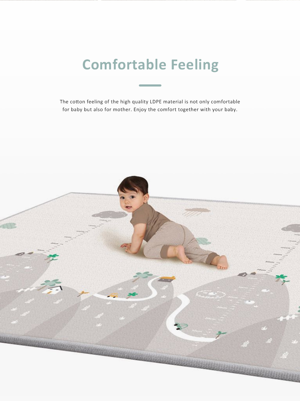 Double Sided Pyramid Textured Playing Mat for Baby, Nontoxic Odorless LDPE Material Crawling Carpet for Home Use 2