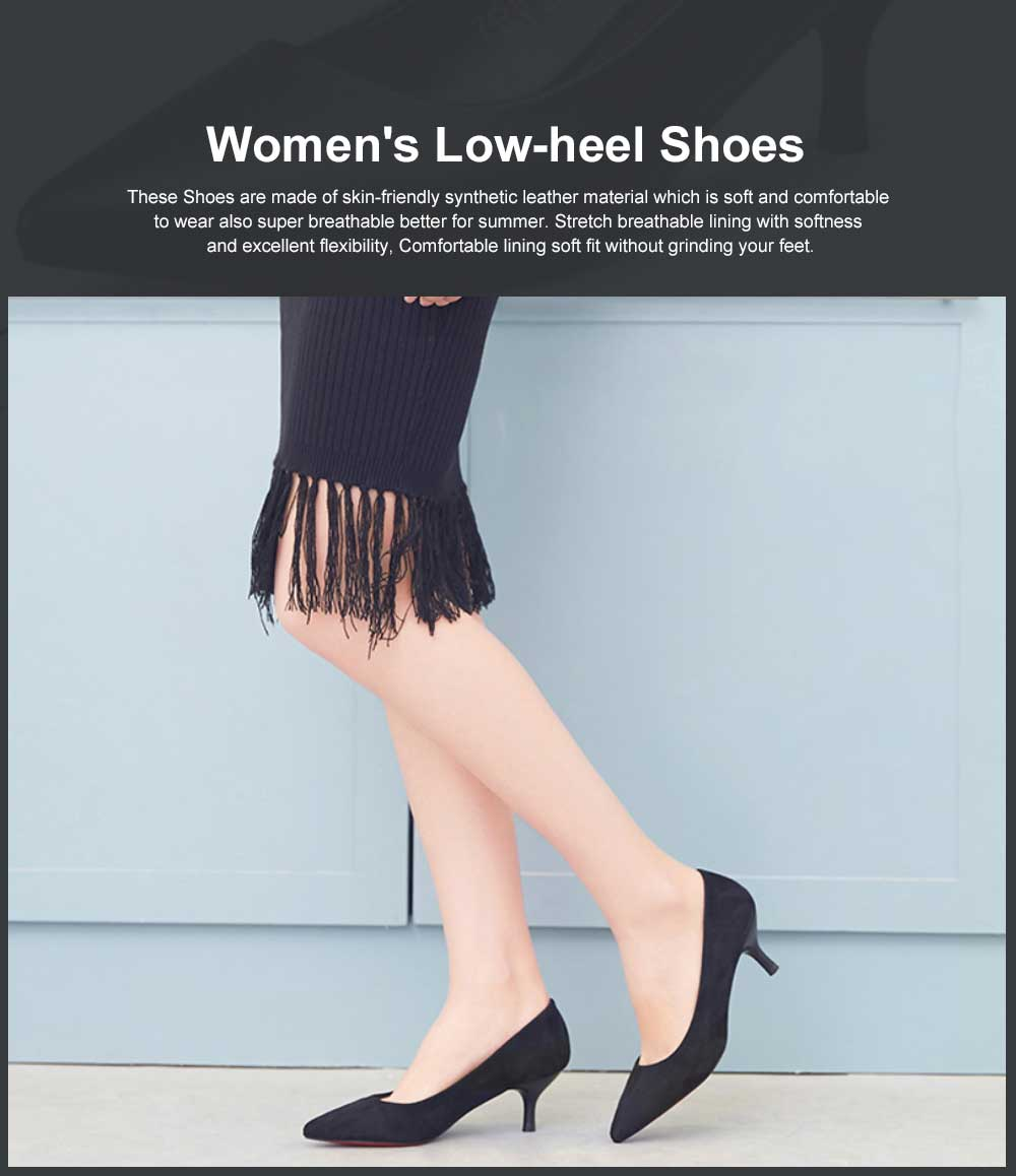 Women's Low-heel Shoes, Comfortable Pointed Toe Casual Synthetic Leather Pumps Shoe, Fashion Slim Heel Office Shoes 0