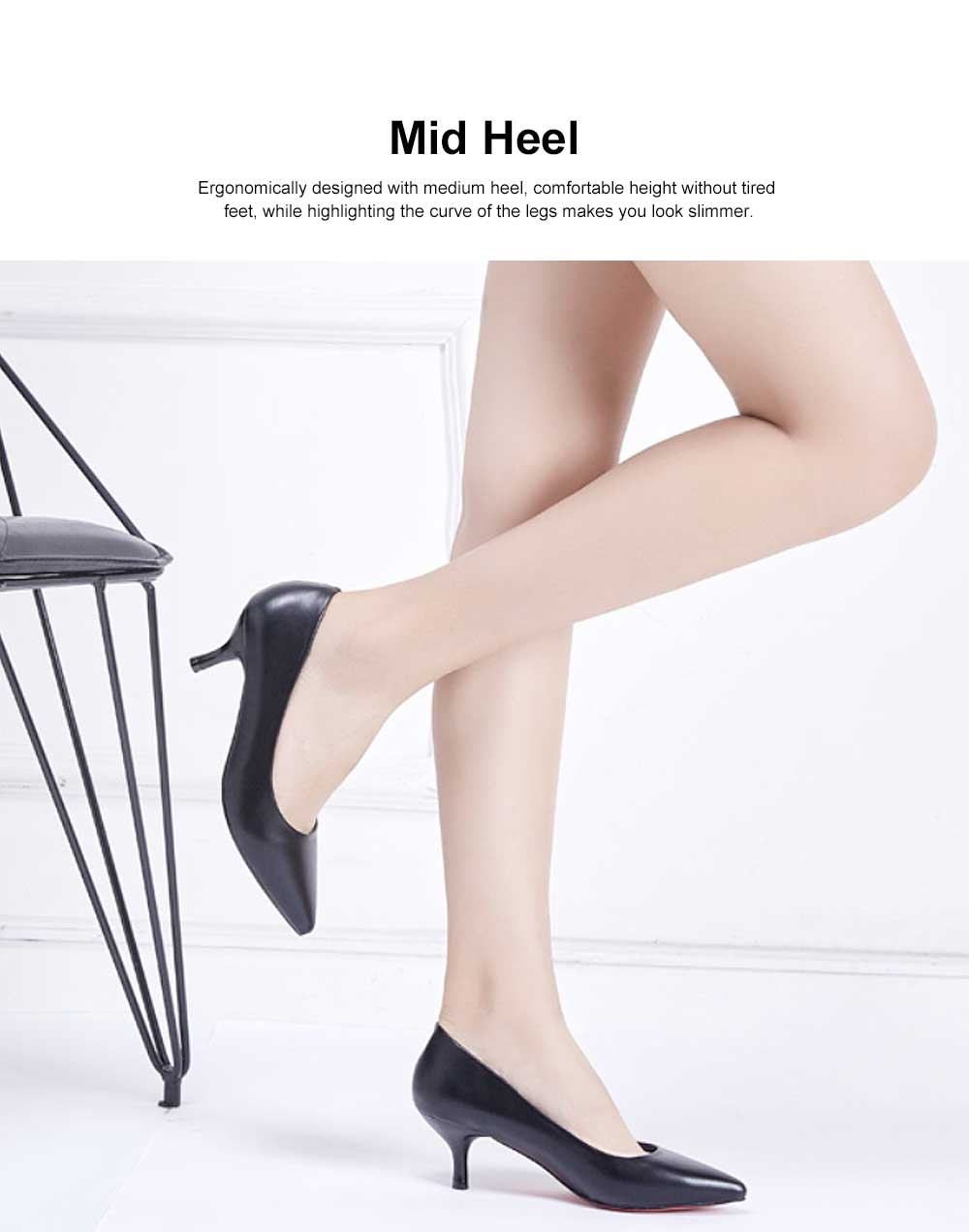 Women's Low-heel Shoes, Comfortable Pointed Toe Casual Synthetic Leather Pumps Shoe, Fashion Slim Heel Office Shoes 2