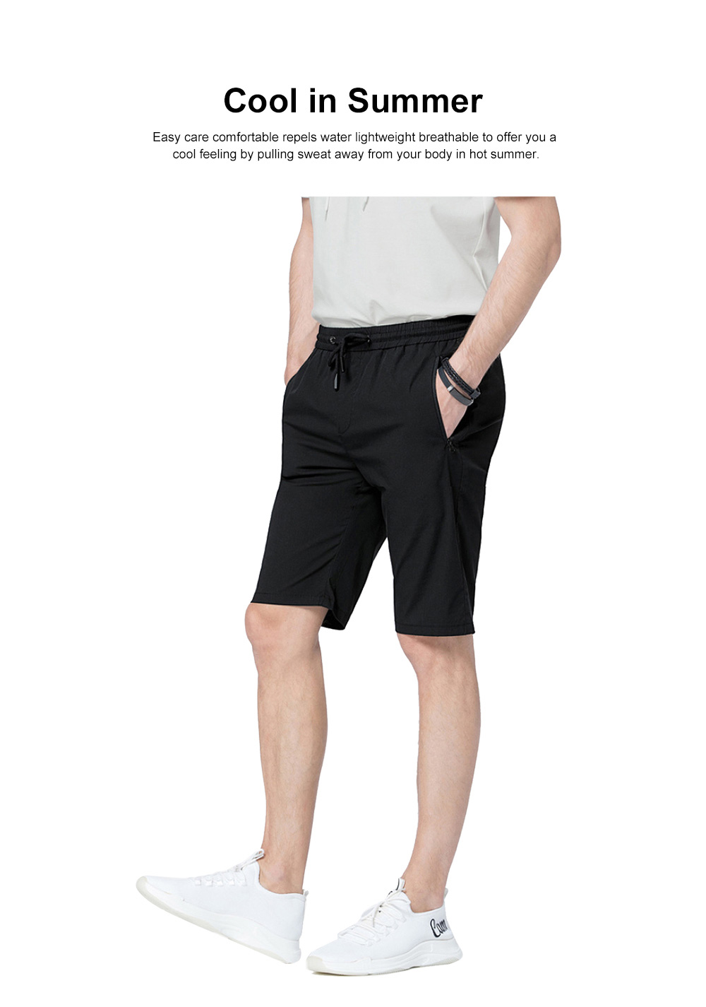 Mens Casual Classic Shorts, Fit Hybrid Chino Shorts, Drawstring Summer Beach Pants with 2 Pockets 2