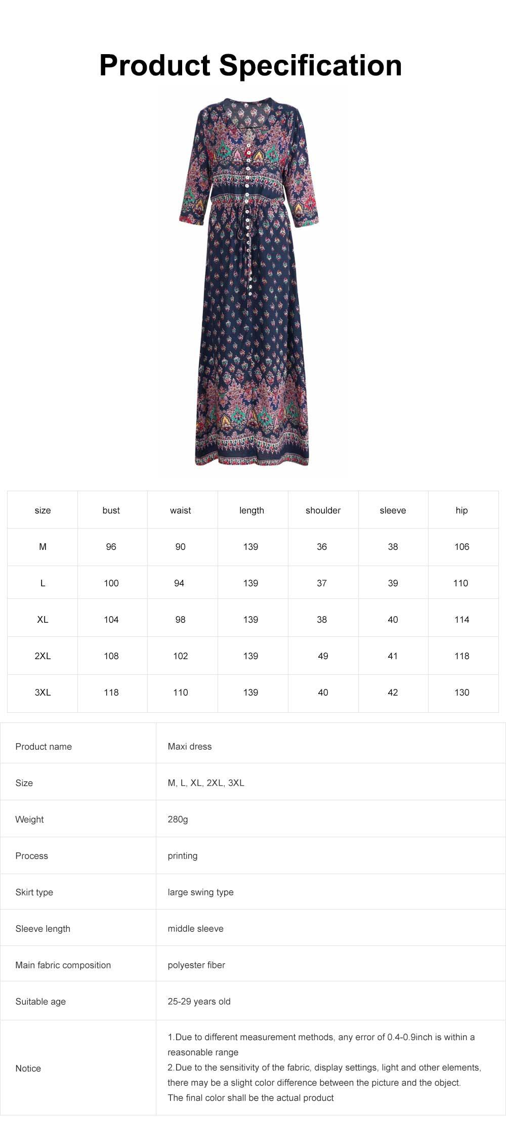 Women Floral Printed Maxi Dress, Deep V-neck Long Beach Dresses, Bohemian Side Split Dresses with Buttons 6