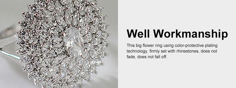 Retro Women's Ring, Big Flower Sterling Silver Rhinestone Rings, Women Fashion Jewelry Accessories for Gifts 3