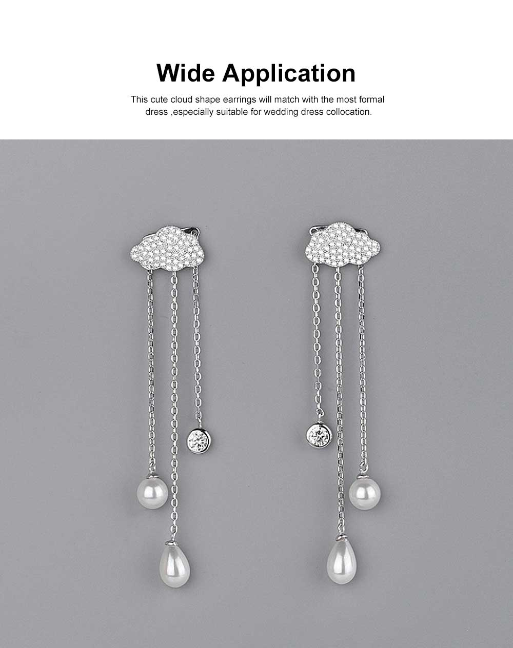 Women's Luxury Cloud Shape Sterling Silver Earrings, Dangling Temperament Pearl Long Pendant, Irregular Elegant Earring 2