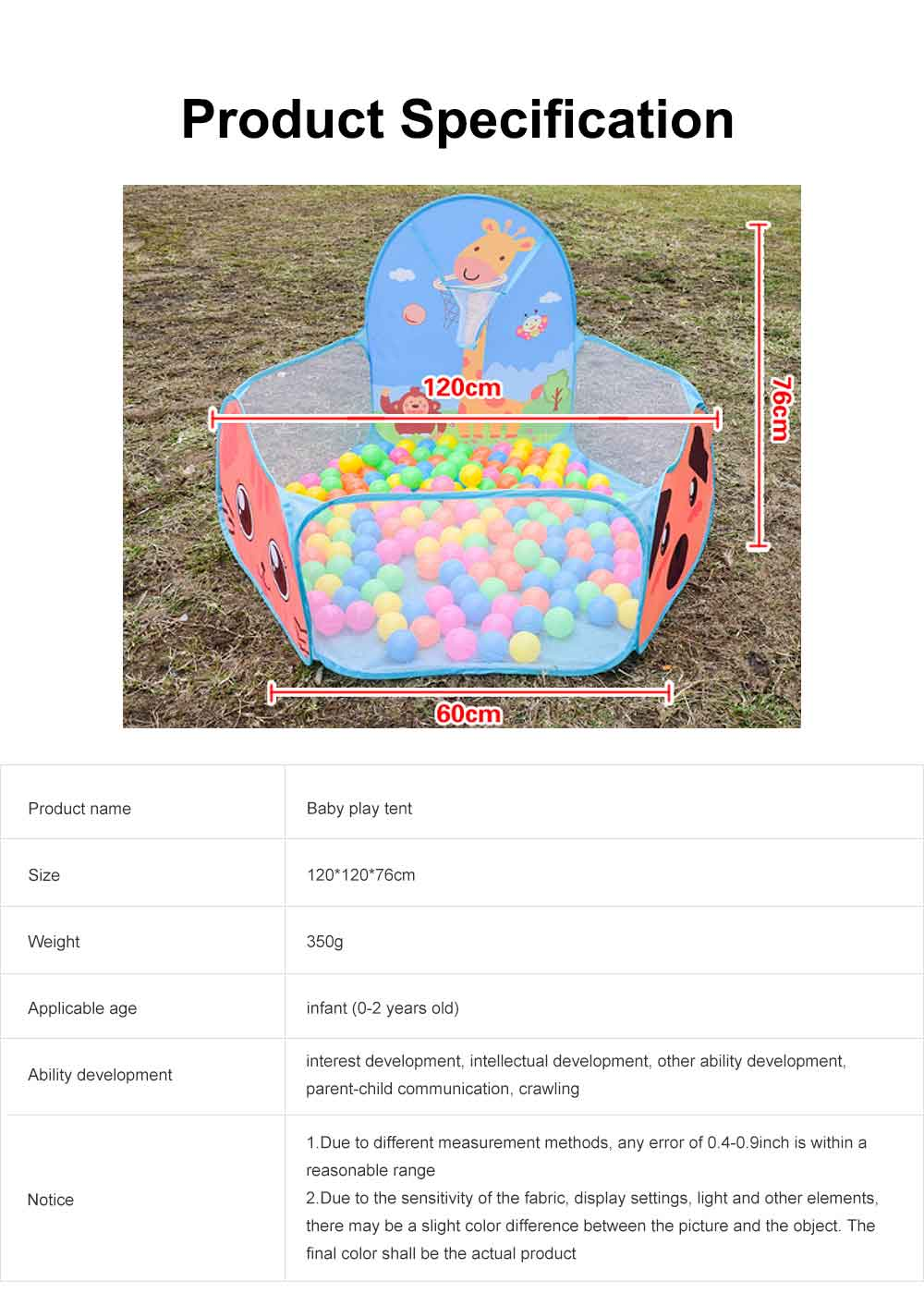 Baby Play Tent, Large Foldable Sea Ball Pits Pool with Basketball Hoopm, Baby Early Education Toys 6
