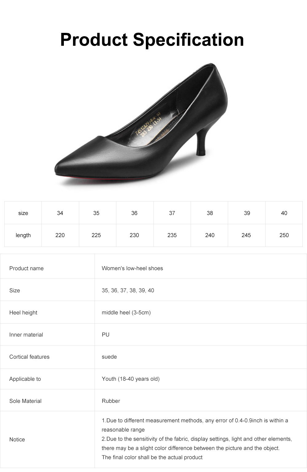 Women's Low-heel Shoes, Comfortable Pointed Toe Casual Synthetic Leather Pumps Shoe, Fashion Slim Heel Office Shoes 6