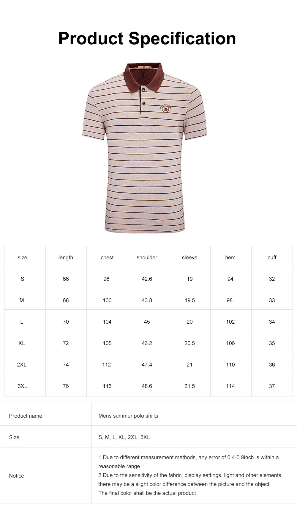 Mens Summer Polo Shirts, Slim Fit Stripe Cotton Short Sleeve Tees, Casual T-Shirts for Gym Exercise Fitness Running Hiking 6