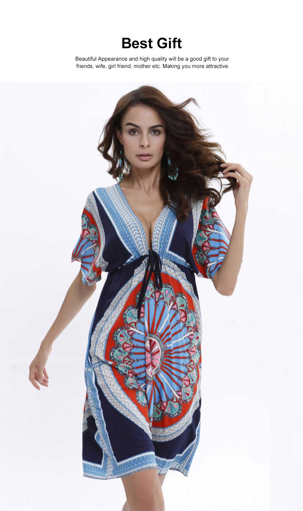 Women's Sexy Dress, Summer V-neck Bohemian Floral Printed Mini Dress, Knee High Dress with Belt for Gifts 1
