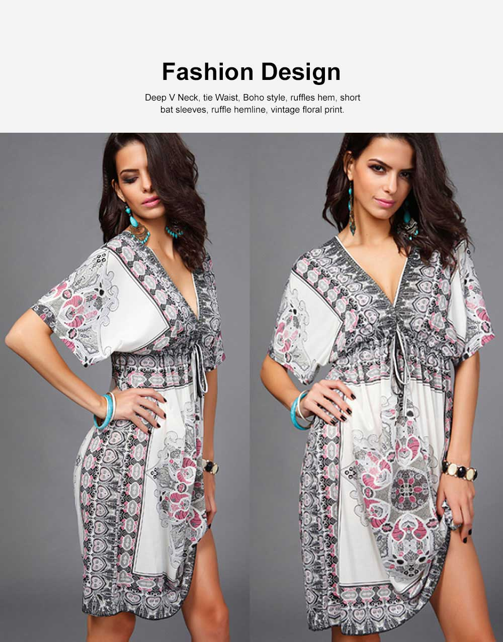 Women's Sexy Dress, Summer V-neck Bohemian Floral Printed Mini Dress, Knee High Dress with Belt for Gifts 2
