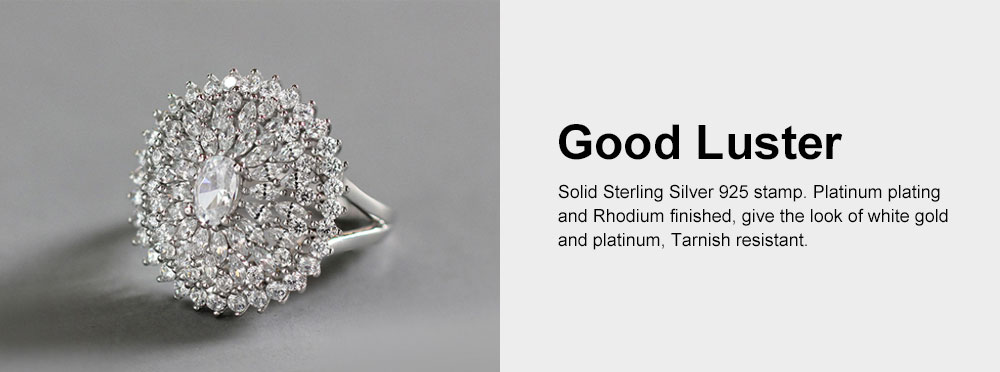 Retro Women's Ring, Big Flower Sterling Silver Rhinestone Rings, Women Fashion Jewelry Accessories for Gifts 5