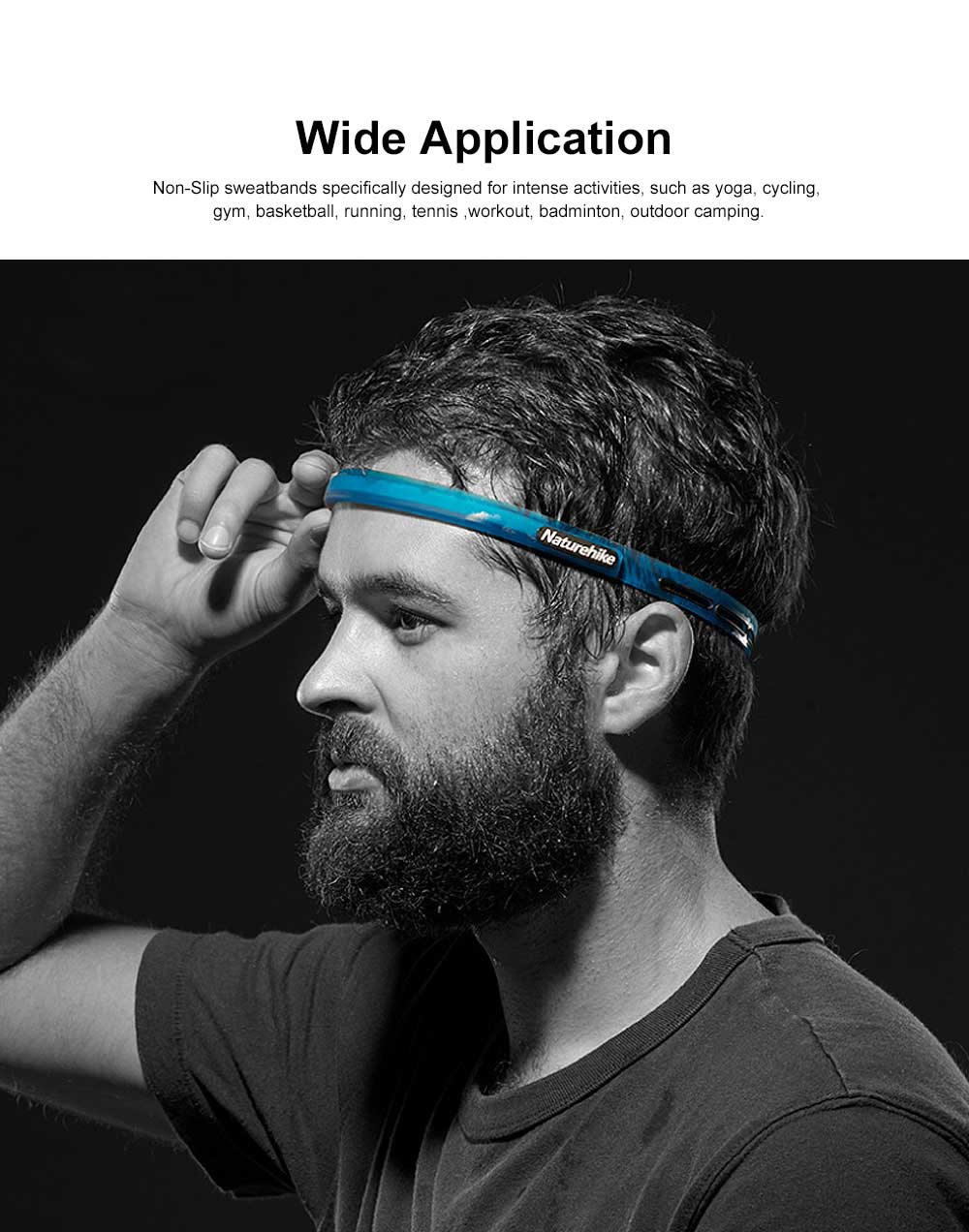 Sweatband Sport Headband, Non Slip Silicone Head Bands for Yoga Running Cycling Tennis, Outdoor Working Out Gym Headwear Accessories 1