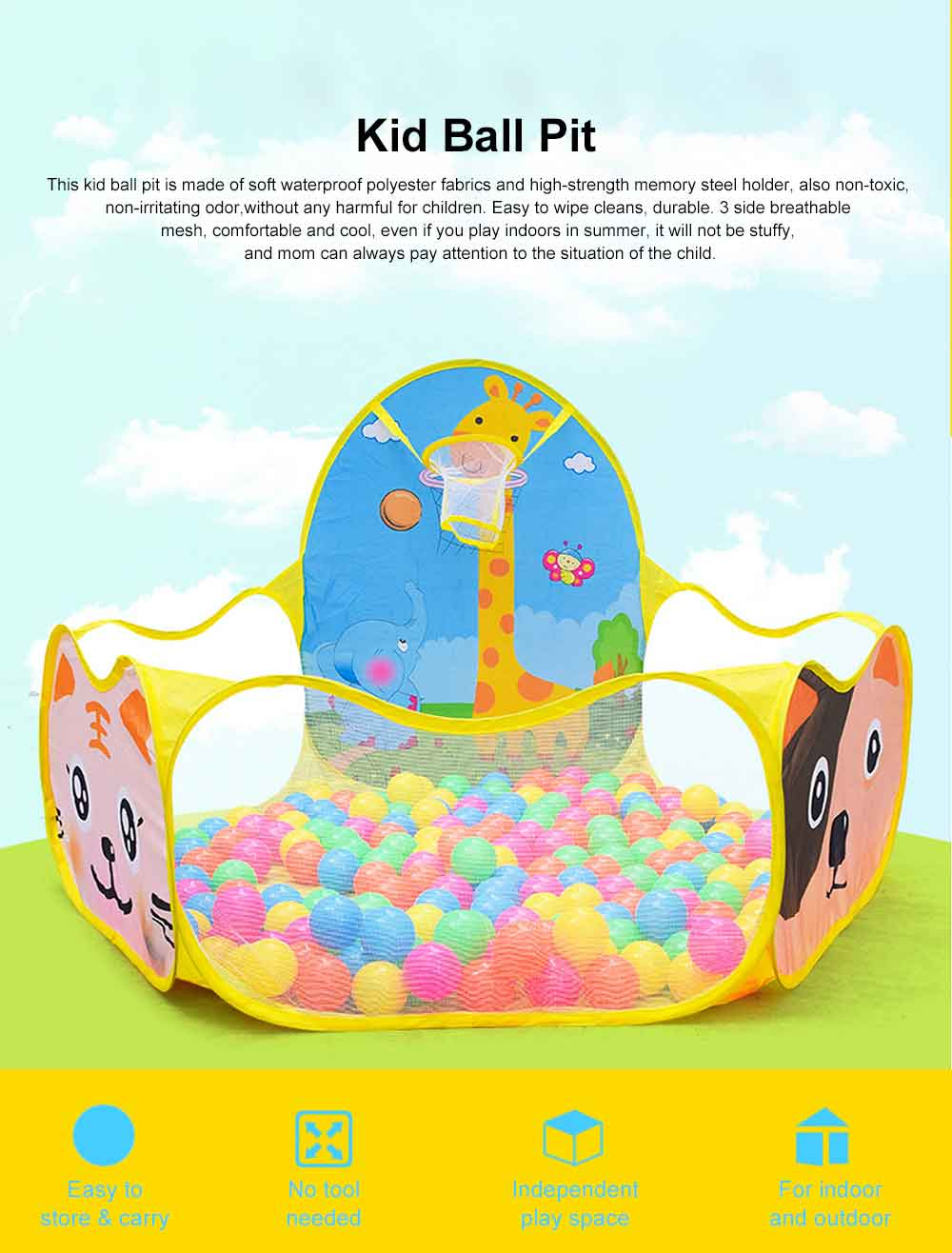 Baby Playing Tent with Basketball Hoop, Muti-purpose Baby Early Education Toys for 1-6 Years Child Toddler 0