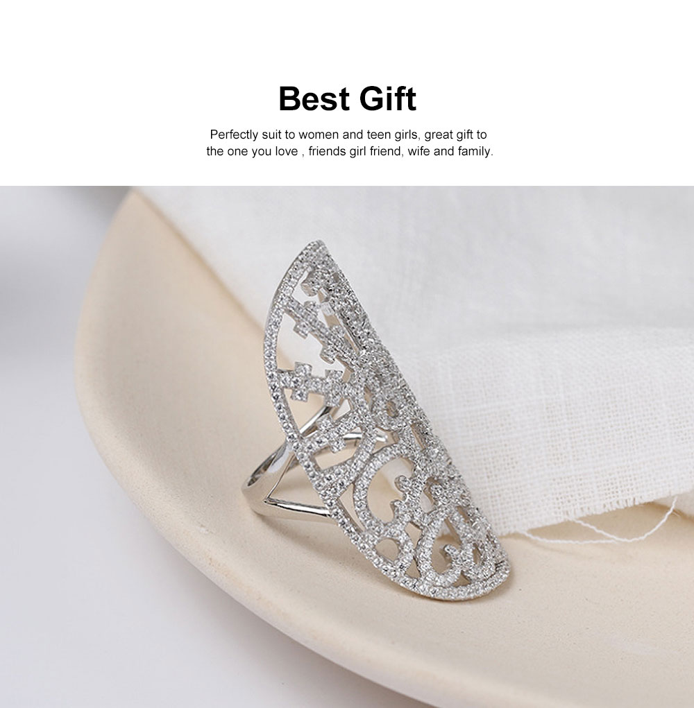 Retro Women's Ring, Hollow Out Sterling Silver Rhinestone Rings, Women Fashion Accessories for Gifts 1