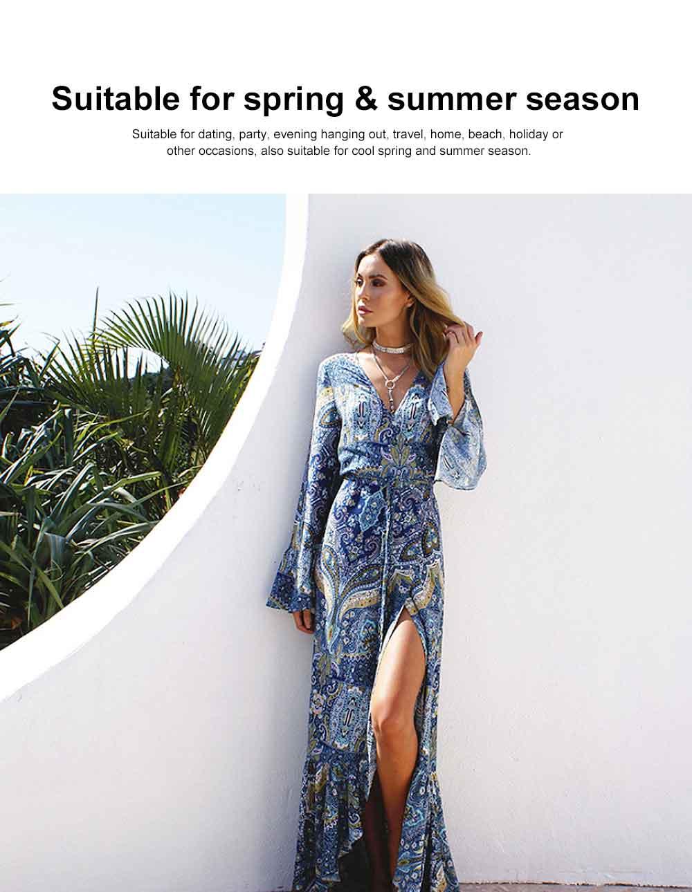 Women Large Size Long Dress, Floral Printed Maxi Dress Deep V-neck Irregular Dresses, Beach Dresses Bohemian Side Split Dresses 3