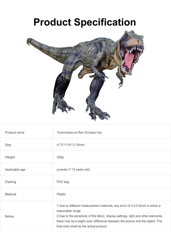Simulation Dinosaur Toy Solid, No Stitching PVC Dinosaur Model, Educational Realistic Dinosaur Figure Tyrannosaurus Rex 6