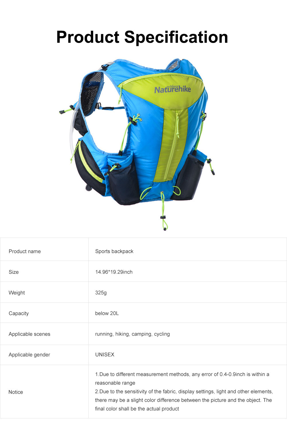 12L Sports Backpack, Ultralight Unisex Nylon Backpack, Hydration Pack Backpack for Travel Hiking Camping 6