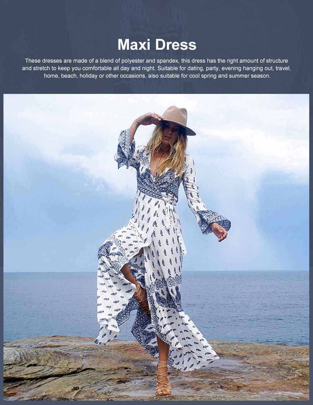 Women Large Size Long Dress, Floral Printed Maxi Dress Deep V-neck Irregular Dresses, Beach Dresses Bohemian Side Split Dresses 0