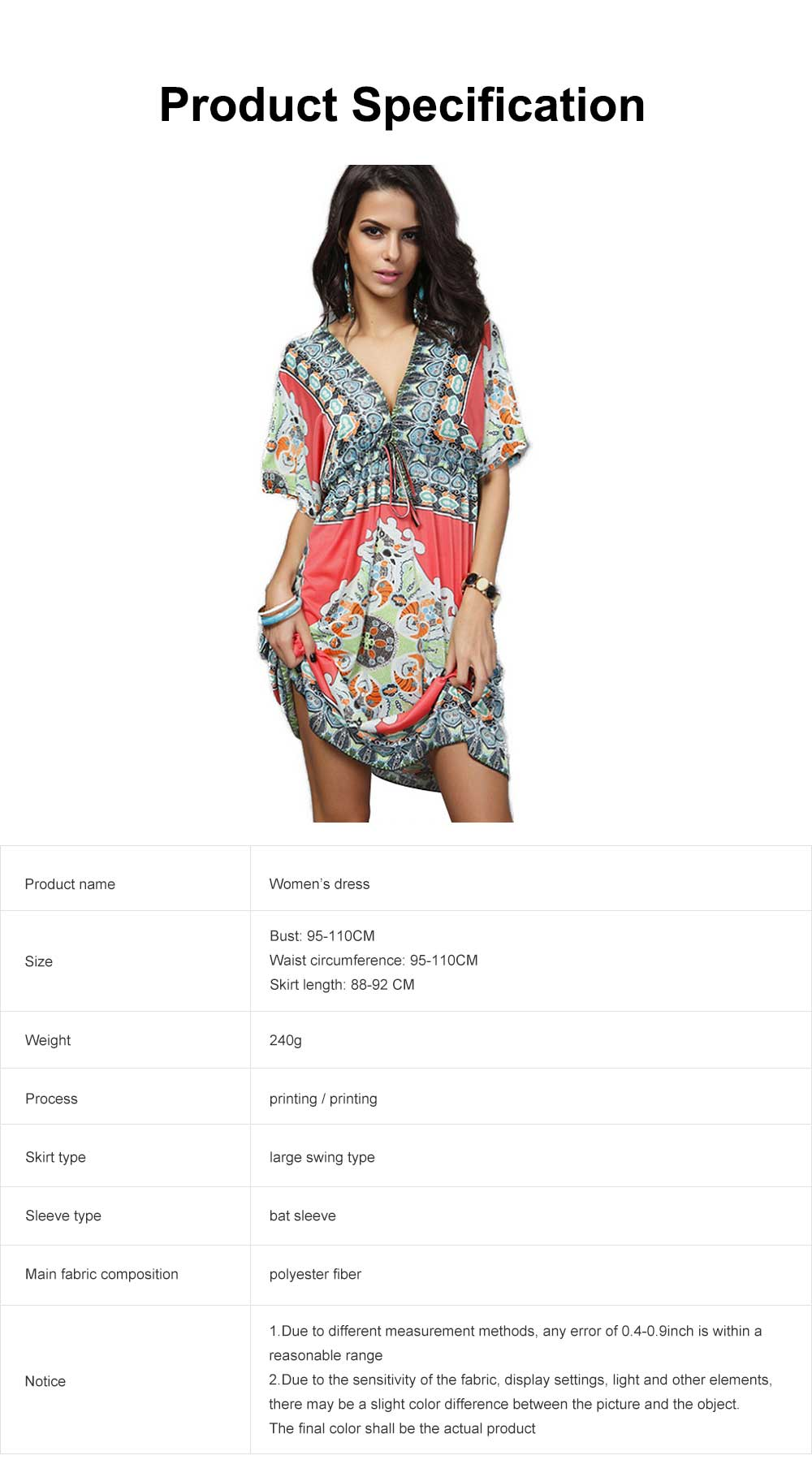 Women's Sexy Dress, Summer V-neck Bohemian Floral Printed Mini Dress, Knee High Dress with Belt for Gifts 6