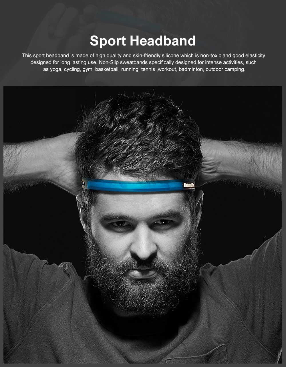 Sweatband Sport Headband, Non Slip Silicone Head Bands for Yoga Running Cycling Tennis, Outdoor Working Out Gym Headwear Accessories 0