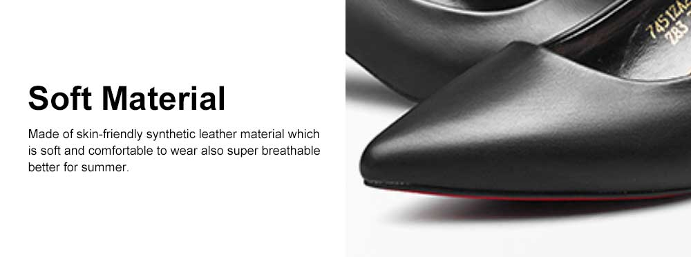 Women's Low-heel Shoes, Comfortable Pointed Toe Casual Synthetic Leather Pumps Shoe, Fashion Slim Heel Office Shoes 4