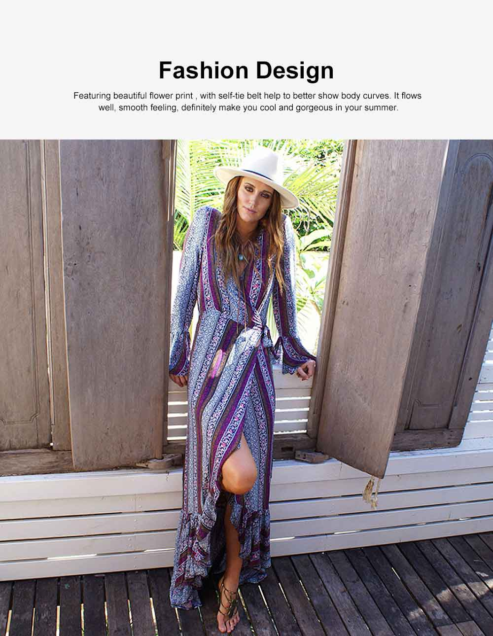 Women Large Size Long Dress, Floral Printed Maxi Dress Deep V-neck Irregular Dresses, Beach Dresses Bohemian Side Split Dresses 2
