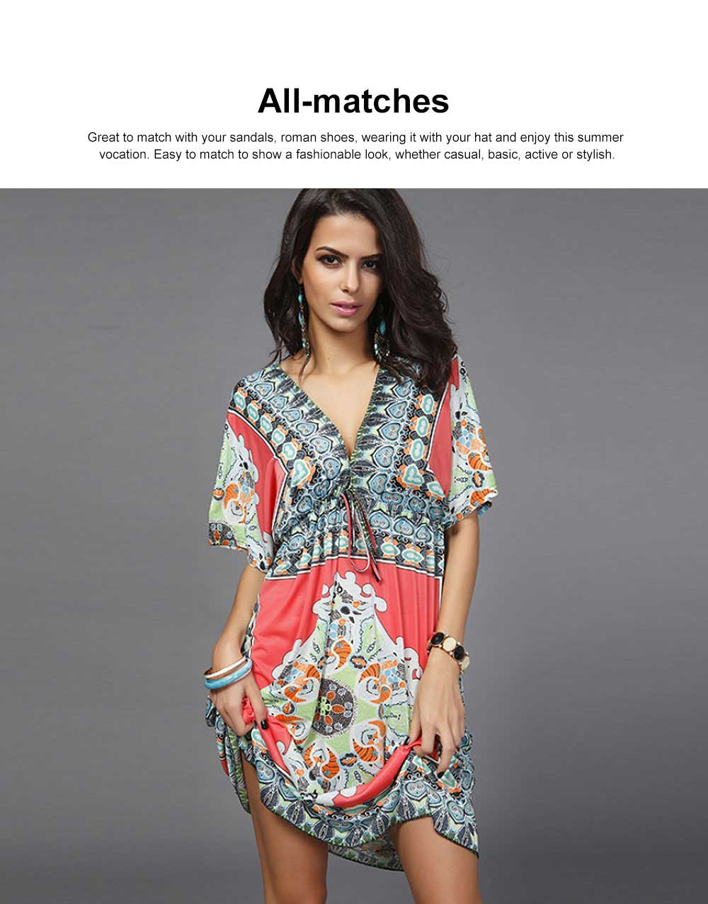 Women's Sexy Dress, Summer V-neck Bohemian Floral Printed Mini Dress, Knee High Dress with Belt for Gifts 3