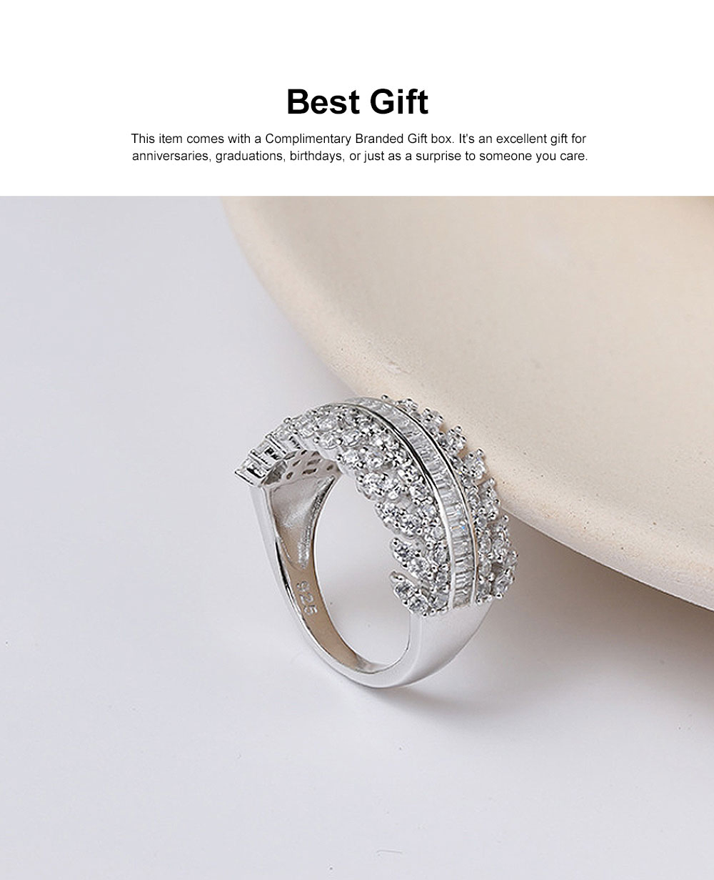 Women's Full Diamond Sterling Silver Jewelry Ring, 925 Sterling Silver Round Cut Crystals Rings for women 1