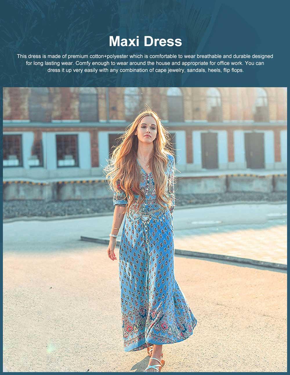 Women Floral Printed Maxi Dress, Deep V-neck Long Beach Dresses, Bohemian Side Split Dresses with Buttons 0
