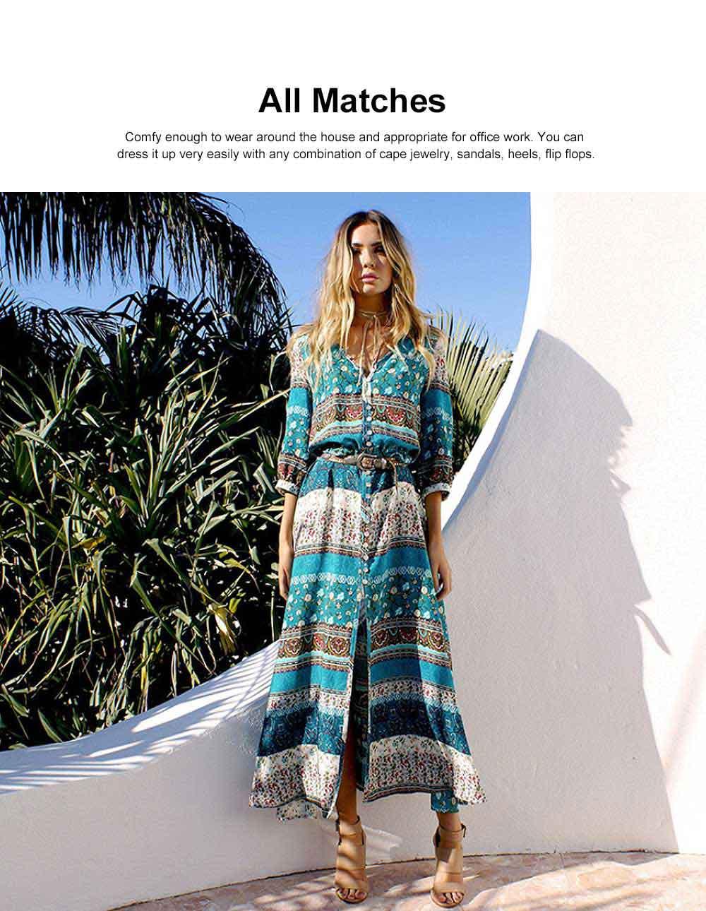 Women Floral Printed Maxi Dress, Deep V-neck Long Beach Dresses, Bohemian Side Split Dresses with Buttons 1