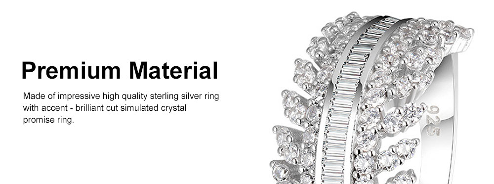 Women's Full Diamond Sterling Silver Jewelry Ring, 925 Sterling Silver Round Cut Crystals Rings for women 2