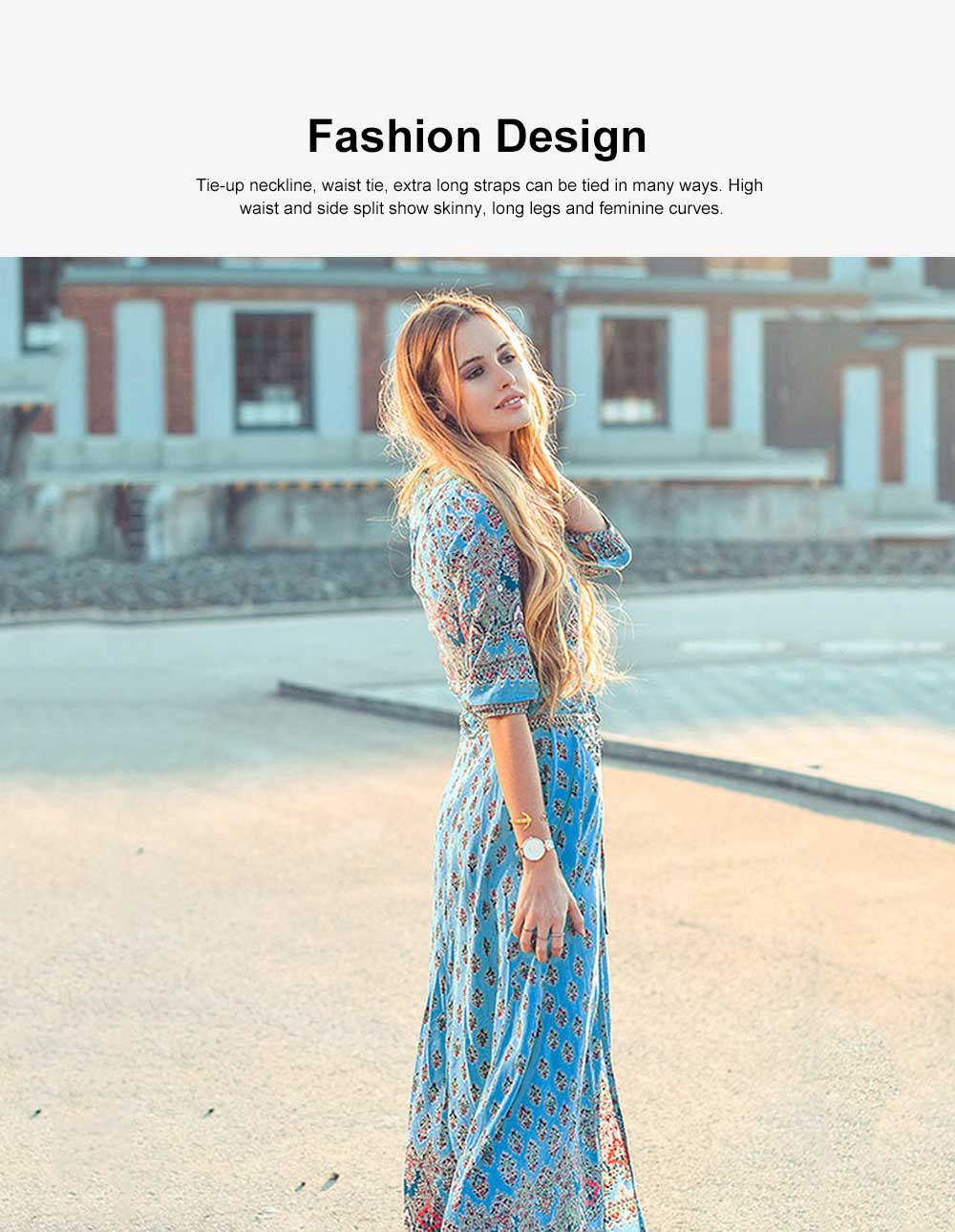 Women Floral Printed Maxi Dress, Deep V-neck Long Beach Dresses, Bohemian Side Split Dresses with Buttons 2
