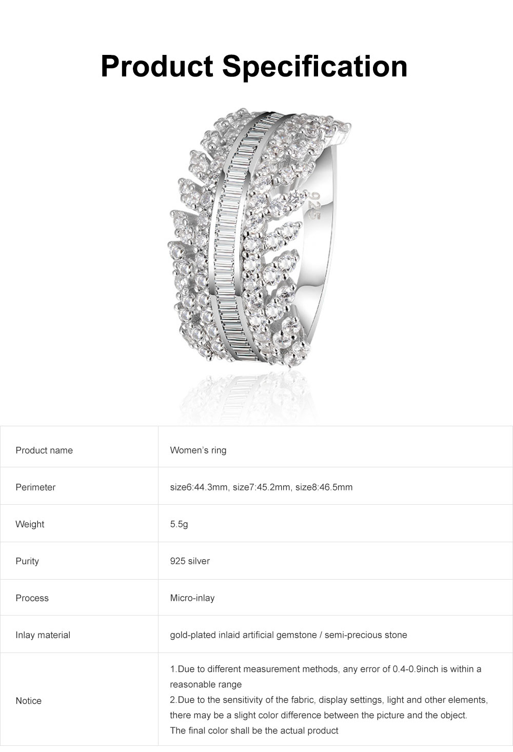 Women's Full Diamond Sterling Silver Jewelry Ring, 925 Sterling Silver Round Cut Crystals Rings for women 6