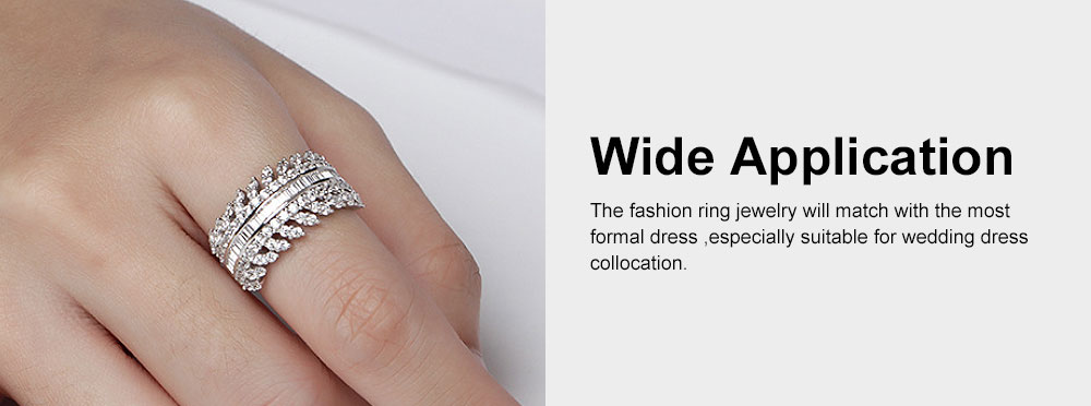 Women's Full Diamond Sterling Silver Jewelry Ring, 925 Sterling Silver Round Cut Crystals Rings for women 3